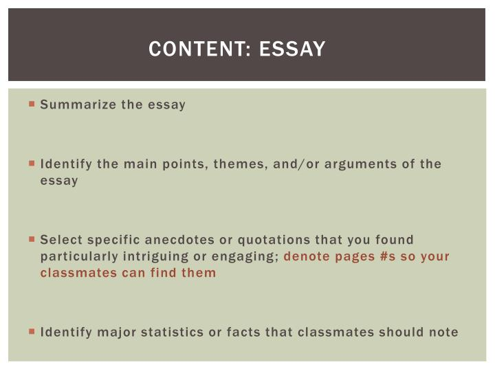 Content: ESSAY