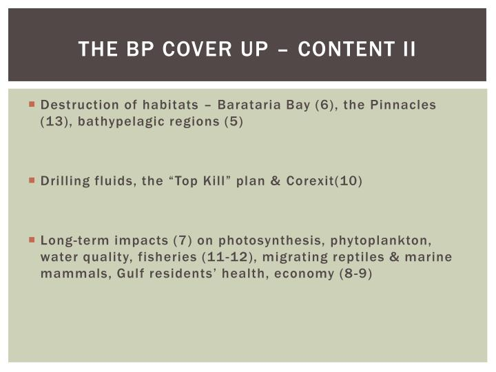 The BP Cover Up – Content II