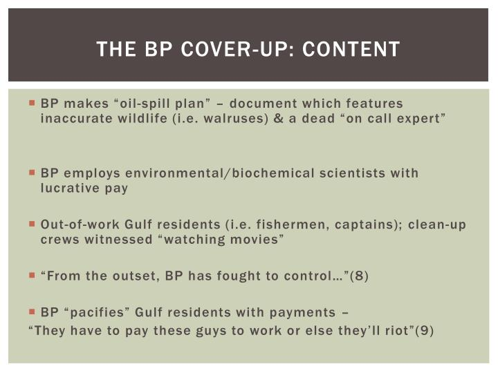 The BP Cover-Up: Content