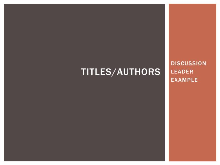 titles authors