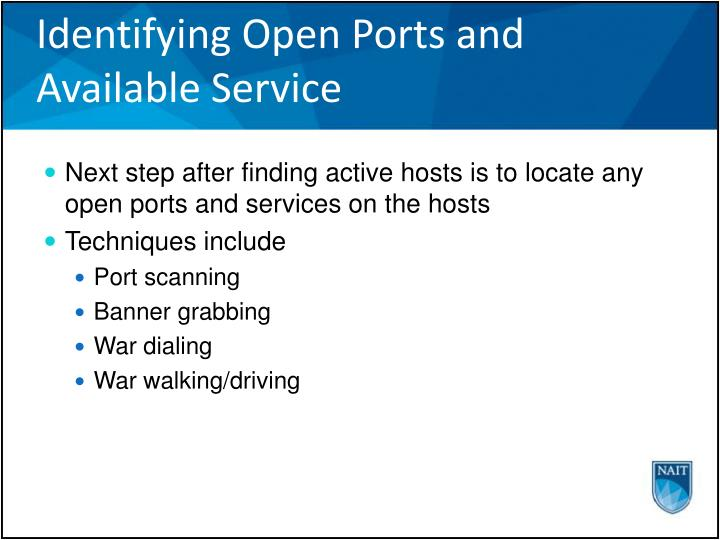 Identifying Open Ports and Available Service