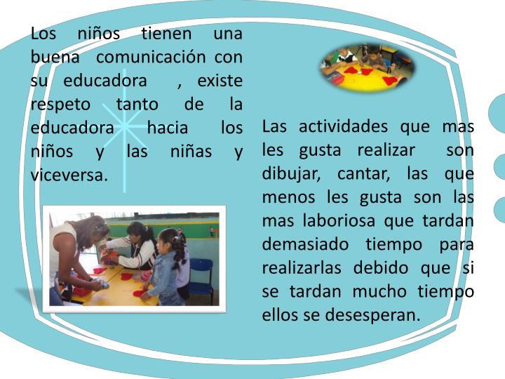 Los niños tienen una buena  comunicación con su educadora  , existe respeto tanto de la educadora  hacia  los niños y las niñas y viceversa.