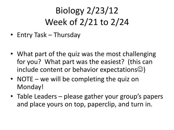 Biology 2/23/12