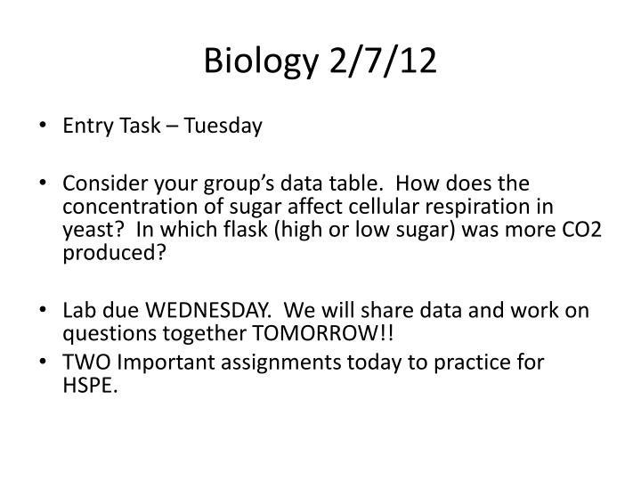 Biology 2/7/12