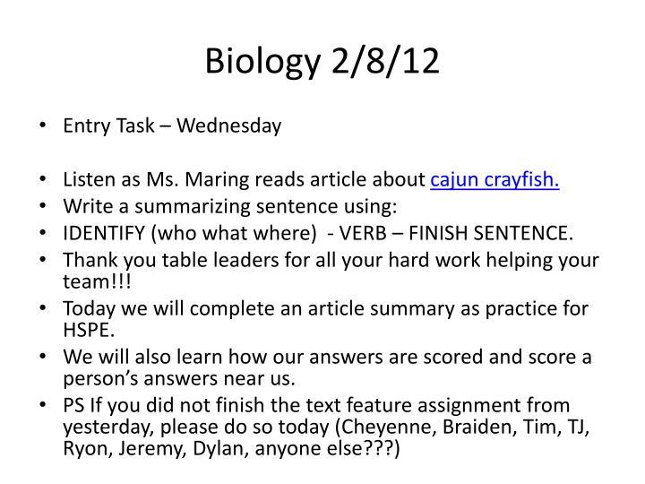Biology 2/8/12