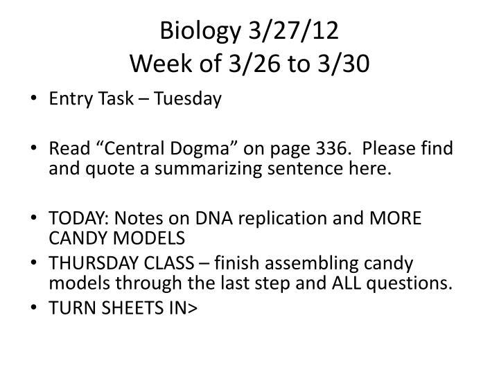 Biology 3/27/12