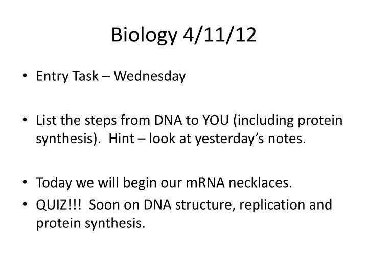 Biology 4/11/12