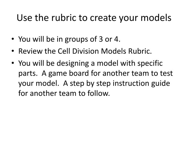 Use the rubric to create your models