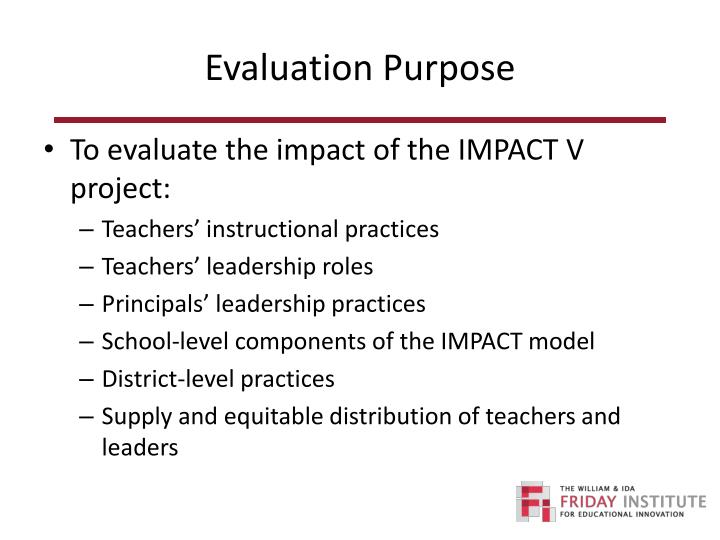 Evaluation Purpose