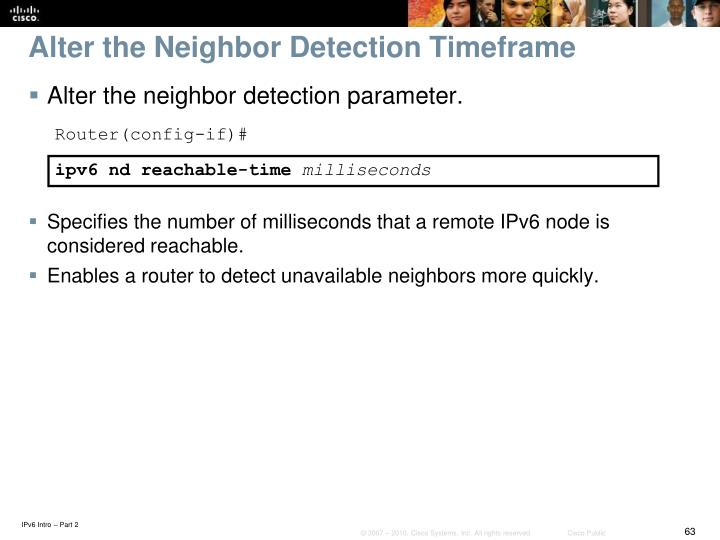 Alter the Neighbor Detection Timeframe