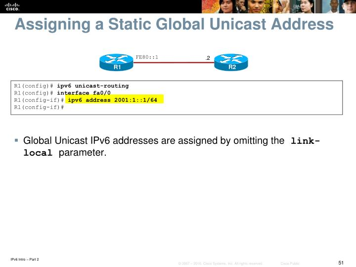 Assigning a Static Global Unicast Address