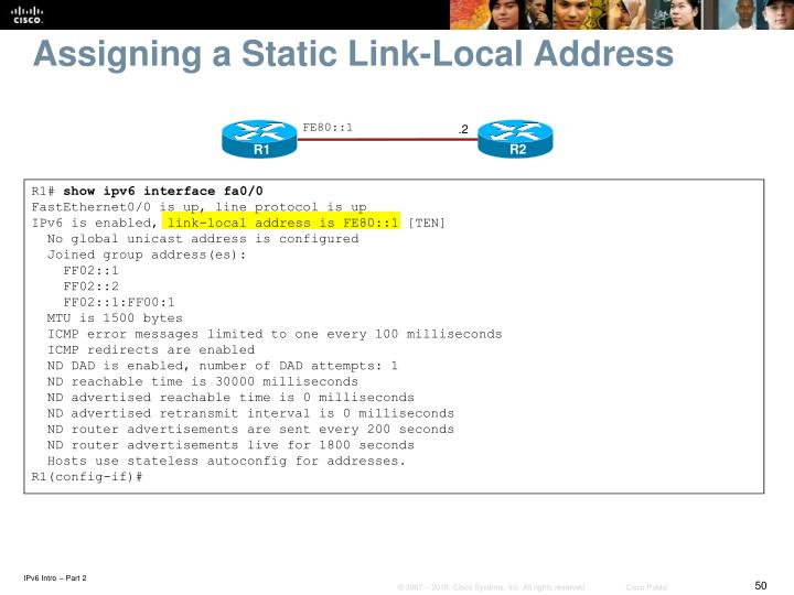 Assigning a Static Link-Local Address