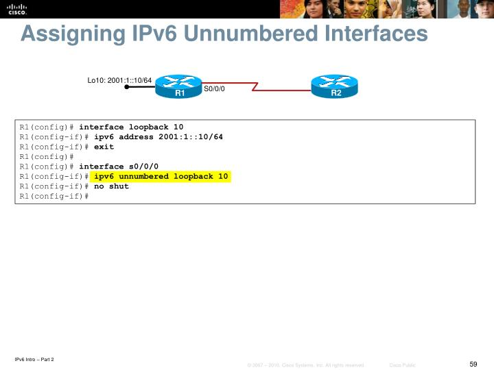 Assigning IPv6 Unnumbered Interfaces
