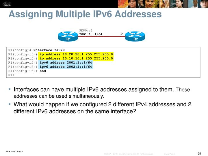 Assigning Multiple IPv6 Addresses