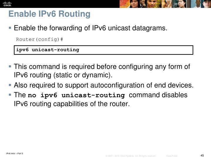 Enable IPv6 Routing