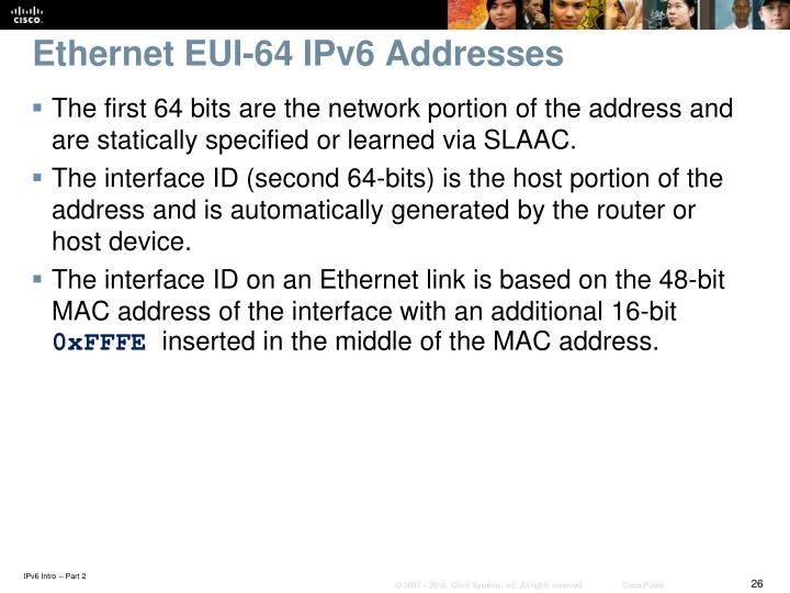 Ethernet EUI-64 IPv6 Addresses
