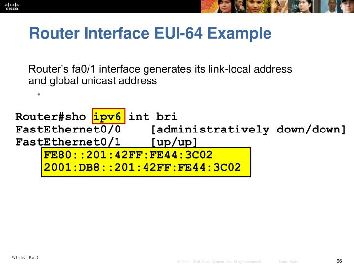 Router Interface EUI-64 Example