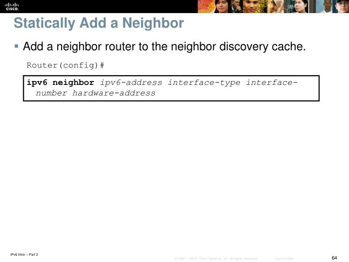 Statically Add a Neighbor