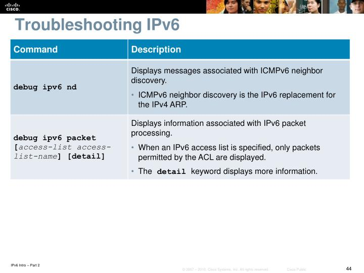 Troubleshooting IPv6