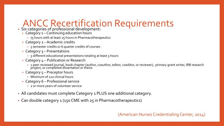ANCC Recertification Requirements