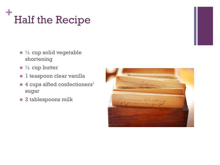 Half the Recipe