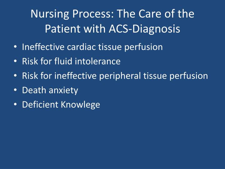Nursing Process: The Care of the Patient with ACS-Diagnosis