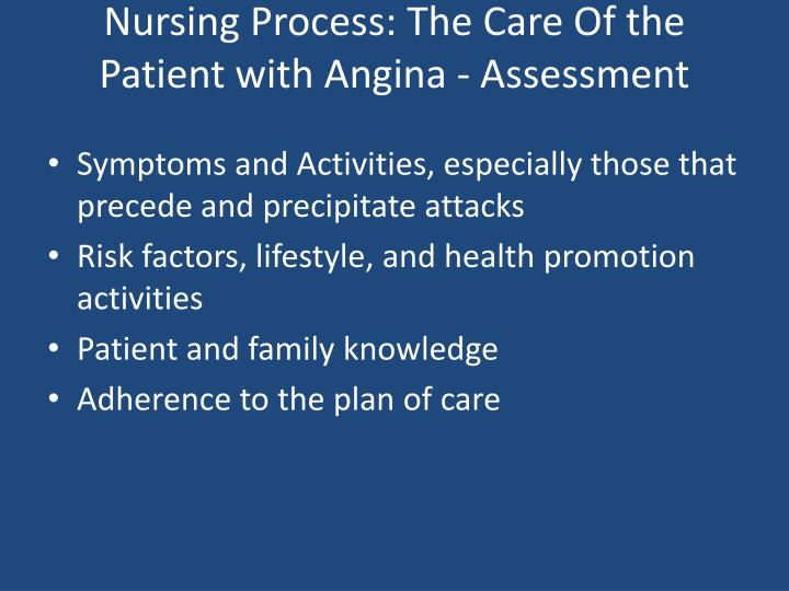 Nursing Process: The Care Of the Patient with Angina - Assessment