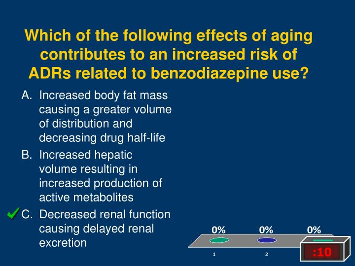 Which of the following effects of aging contributes to an increased risk of