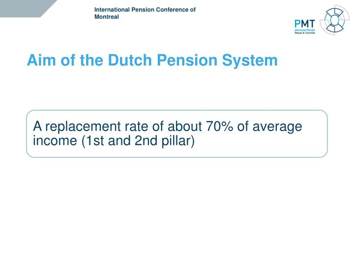 Aim of the dutch pension system