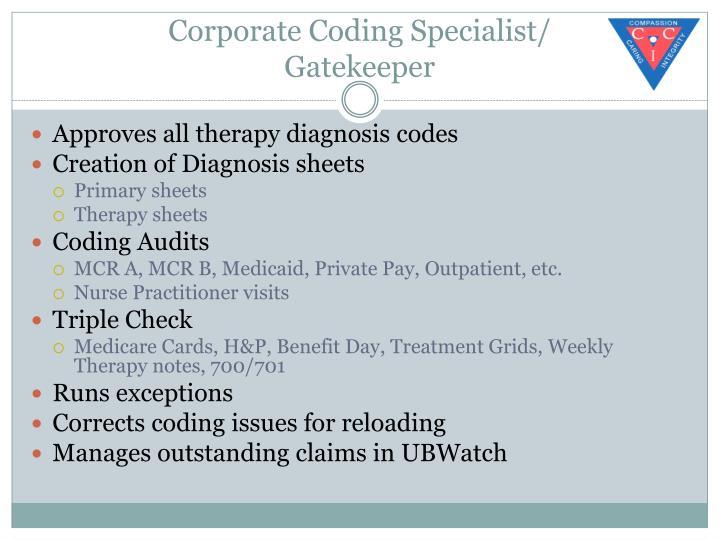 Corporate Coding Specialist/