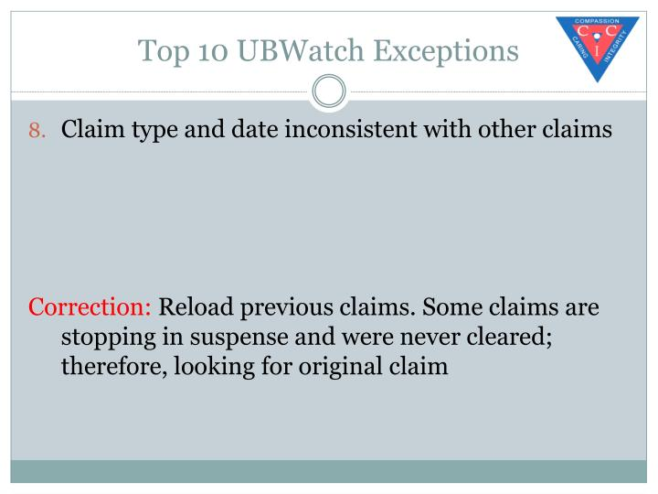 Top 10 UBWatch Exceptions