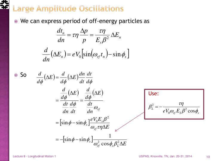 Large Amplitude Oscillations