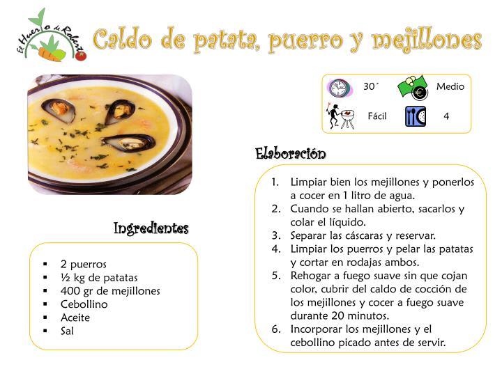 Caldo de patata, puerro y mejillones