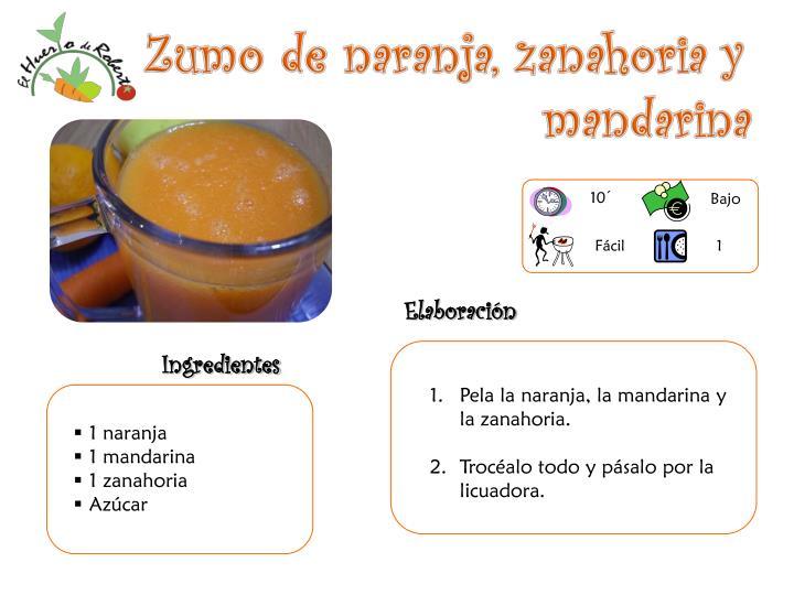 Zumo de naranja, zanahoria y     mandarina
