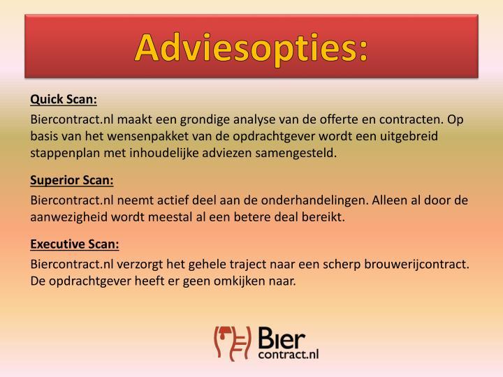 Adviesopties: