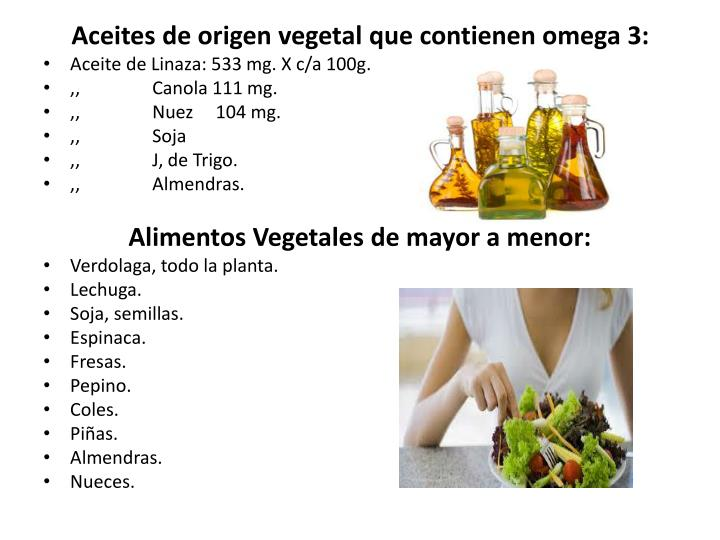 Aceites de origen vegetal que contienen omega 3: