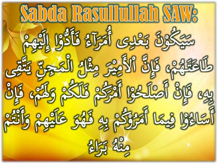 Sabda Rasullullah SAW