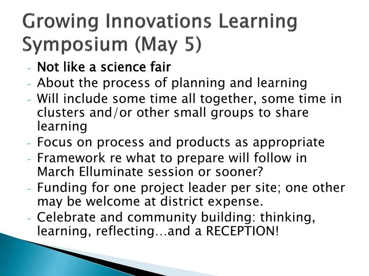 Growing Innovations Learning Symposium (May 5)