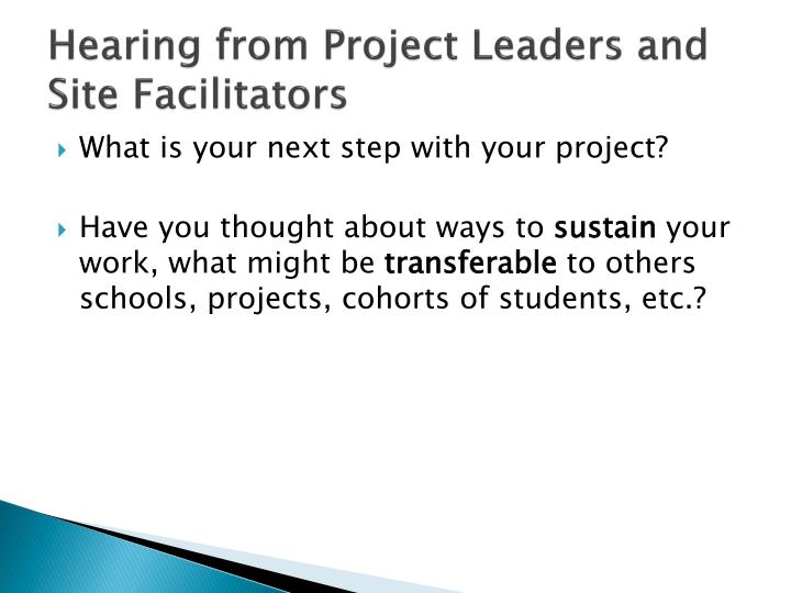 Hearing from Project Leaders and Site Facilitators