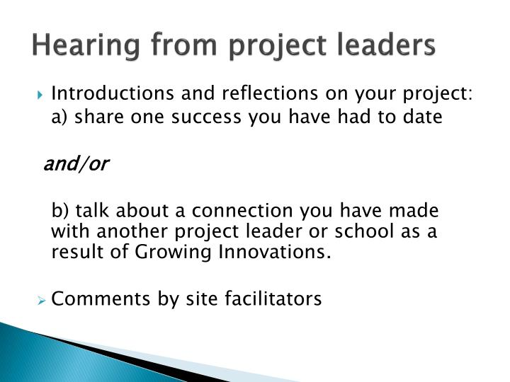 Hearing from project leaders