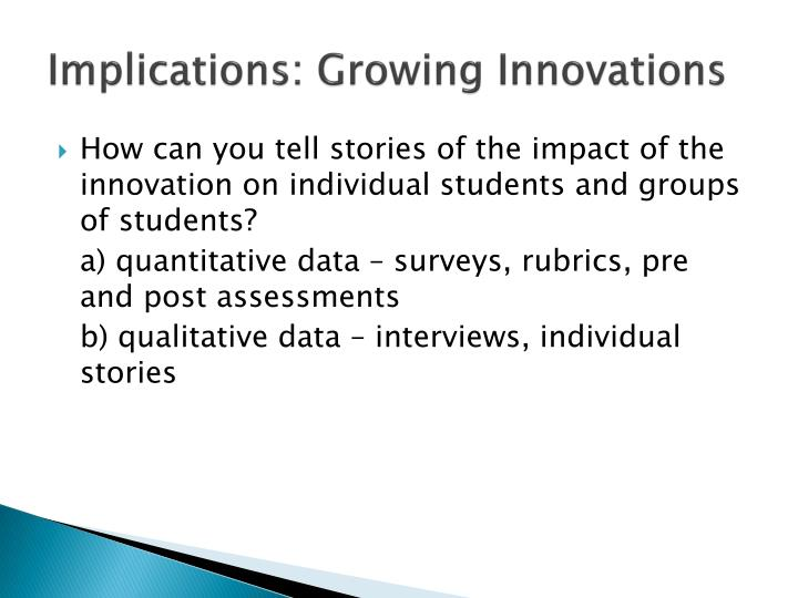 Implications: Growing Innovations