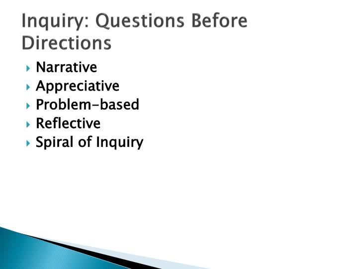 Inquiry: Questions Before Directions