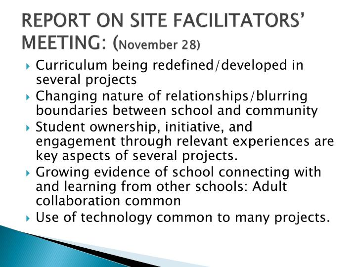 REPORT ON SITE FACILITATORS' MEETING: (