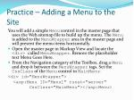 practice adding a menu to the site