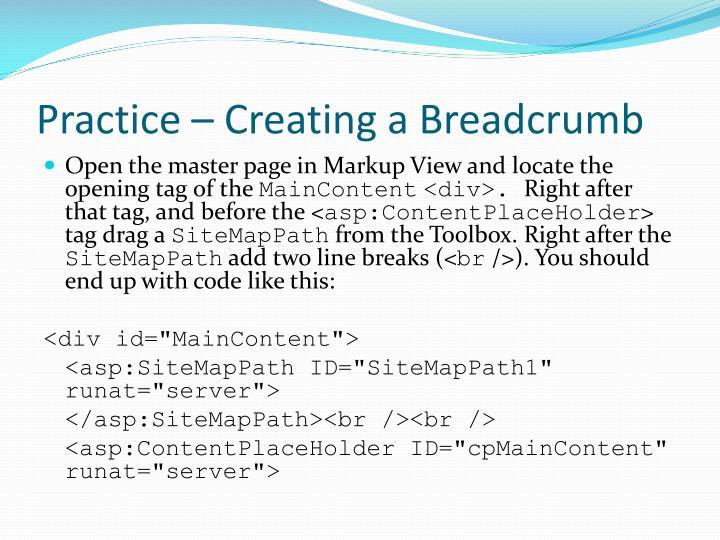 Practice – Creating a Breadcrumb