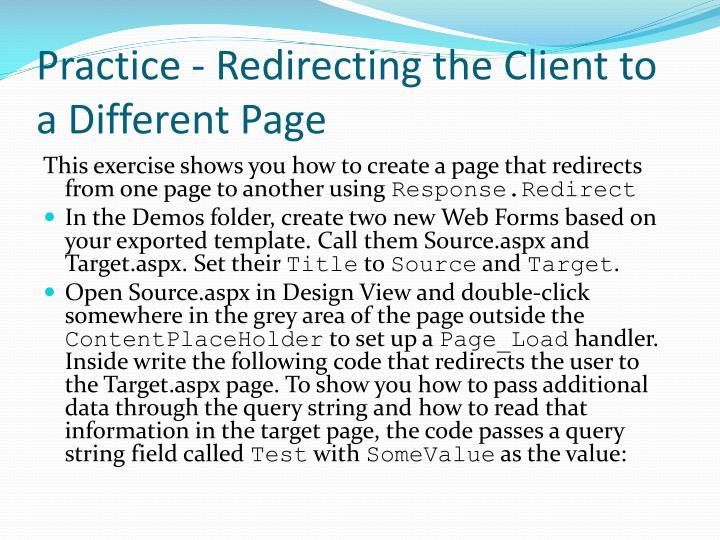 Practice - Redirecting