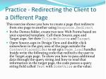 practice redirecting the client to a different page