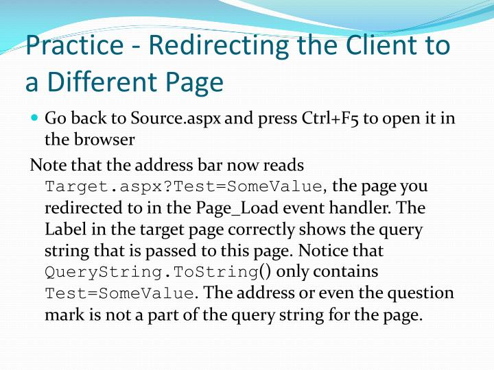 Practice - Redirecting the Client to a Different Page