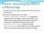 practice redirecting the client to a different page2