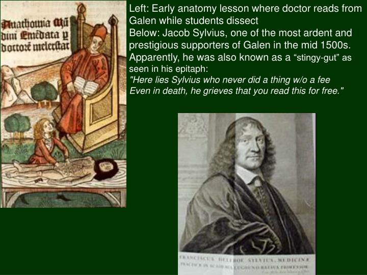 Left: Early anatomy lesson where doctor reads from Galen while students dissect